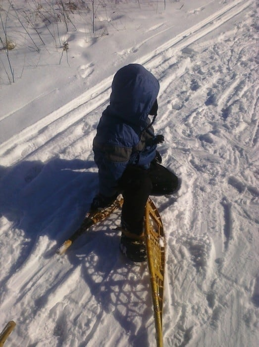 falling on snowshoes
