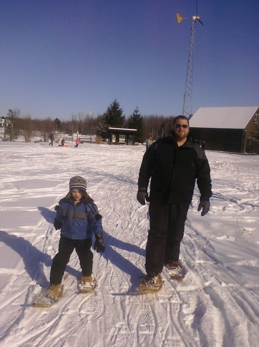 father:son snowshoe