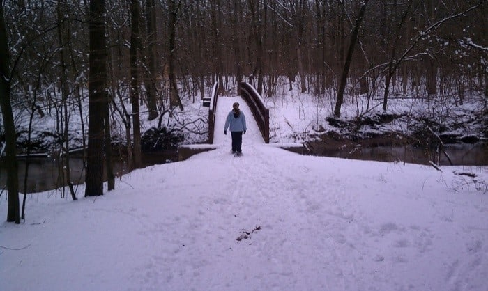 snowshoe on trail in Michigan