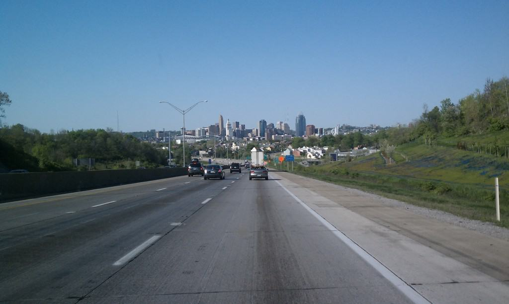 View of Cincinnati from the cut in the hill in Covington I75