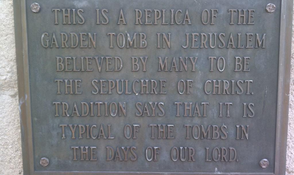 The Garden of Hope in Covington, Kentucky replica tomb