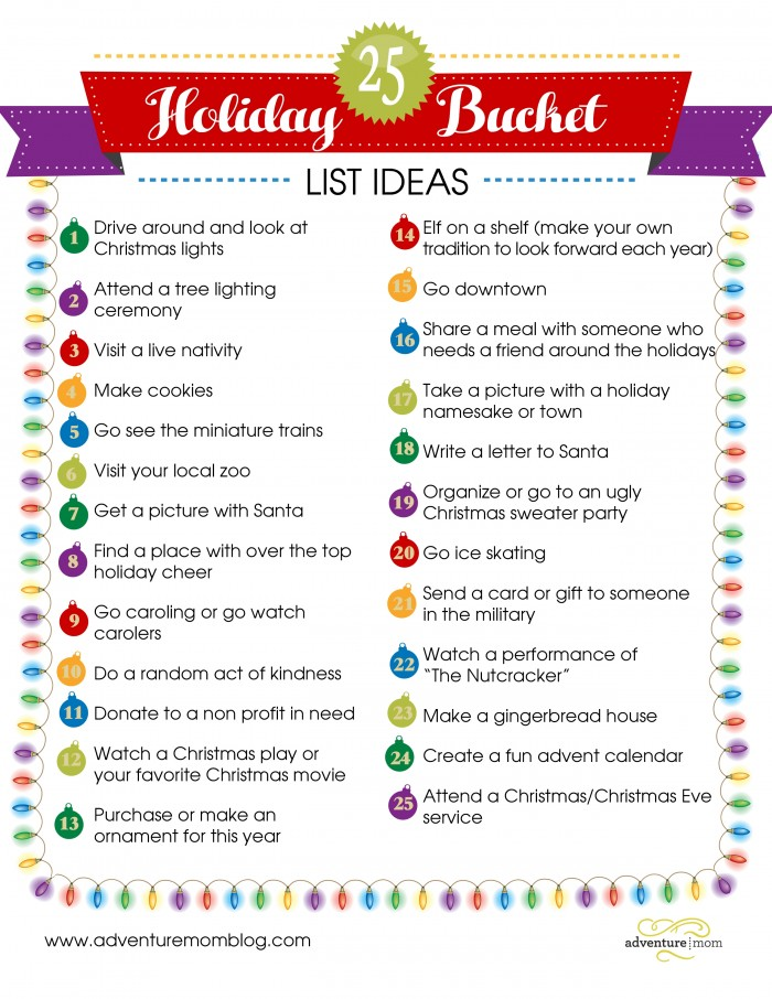 25 Holiday Buckets List Ideas ~ Free Printable