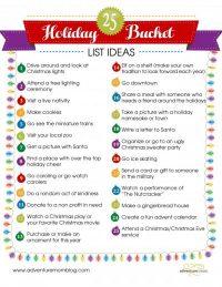 25 Holiday Bucket List Ideas ~ Free Printables