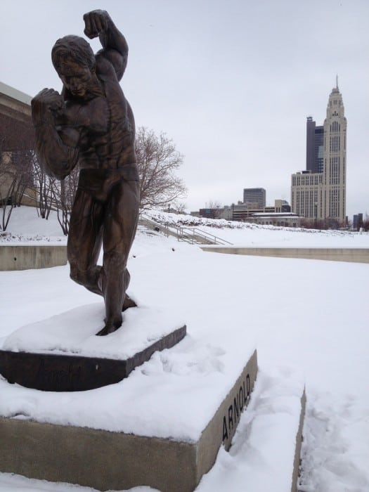 Arnold Schwarzenegger statue with view of Columbus