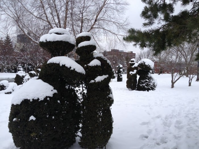topiary park snow covered