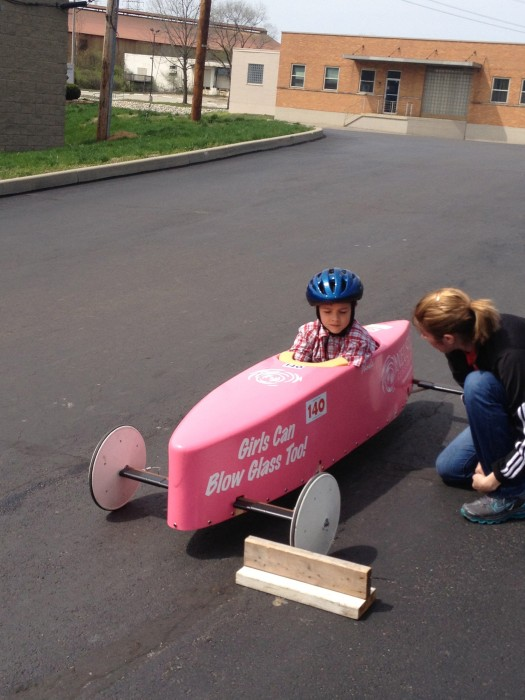 Testing out Soap Box Derby Cars