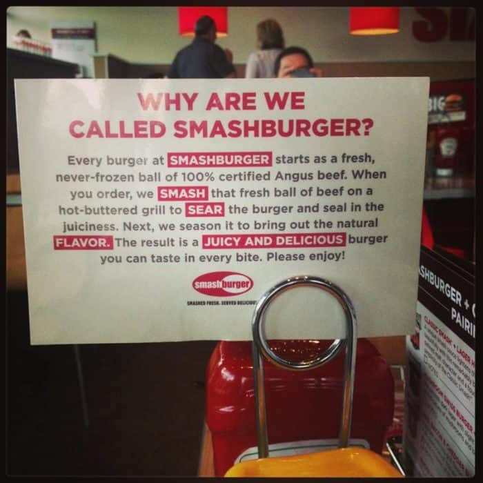 Smashburger Burger and Beer Pairings Menu