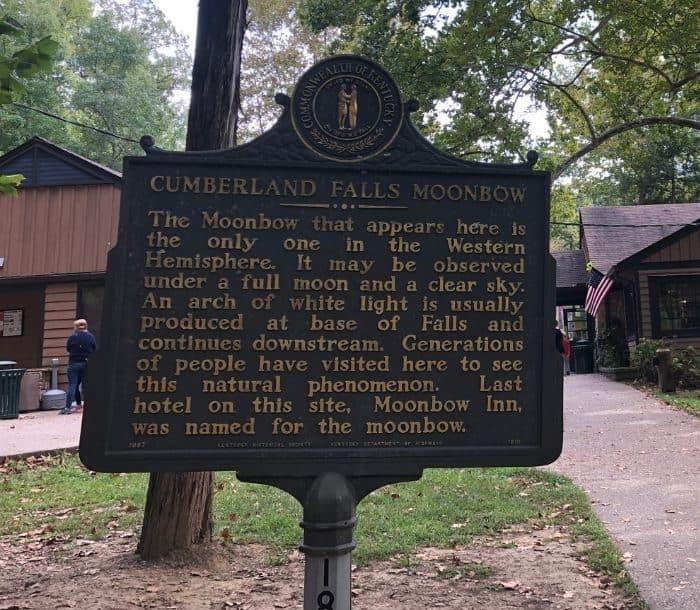 Cumberland Falls Moonbow Sign Marker