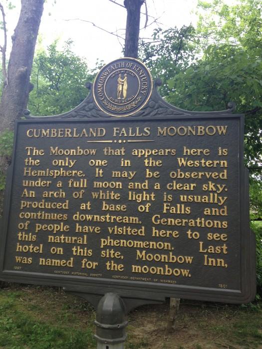 Cumberland Falls Moonbow historic sign