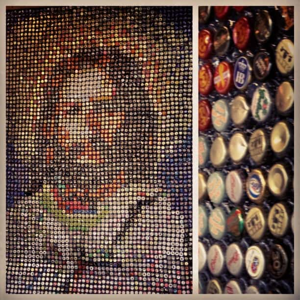 Jesus mural with bottlecaps Art Prize in Grand Rapids, Michigan