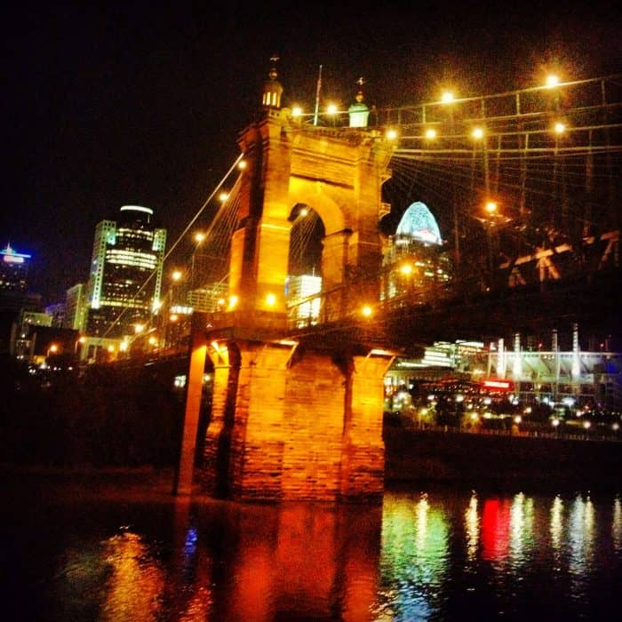 Roebling Bridge Cincinnati Skyline