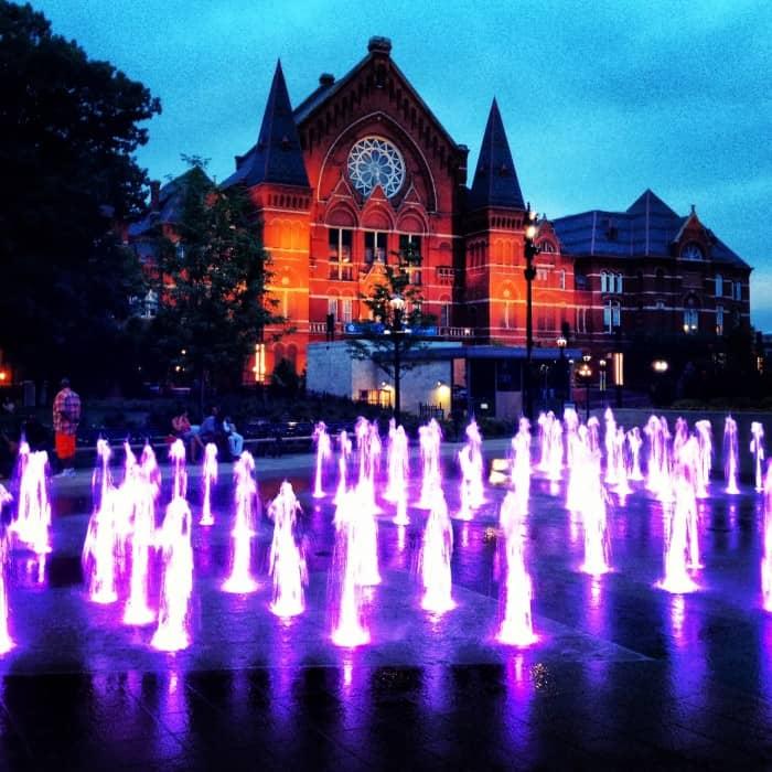 Washington park fountains  in Over the Rhine in Cincinnati Ohio