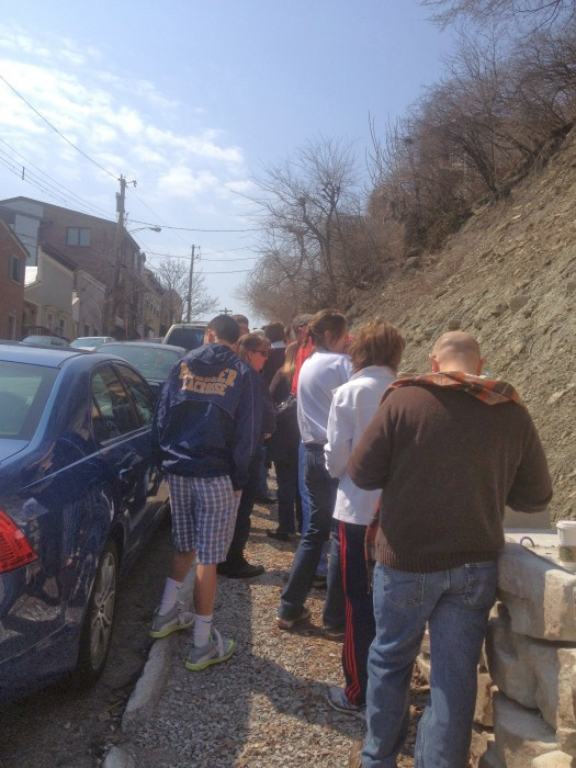 Praying the steps at Holy Cross Immaculata Mt. Adams Cincinnati