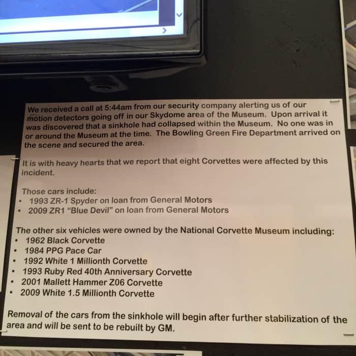National Corvette Museum Bowling Green, Kentucky sinkhole