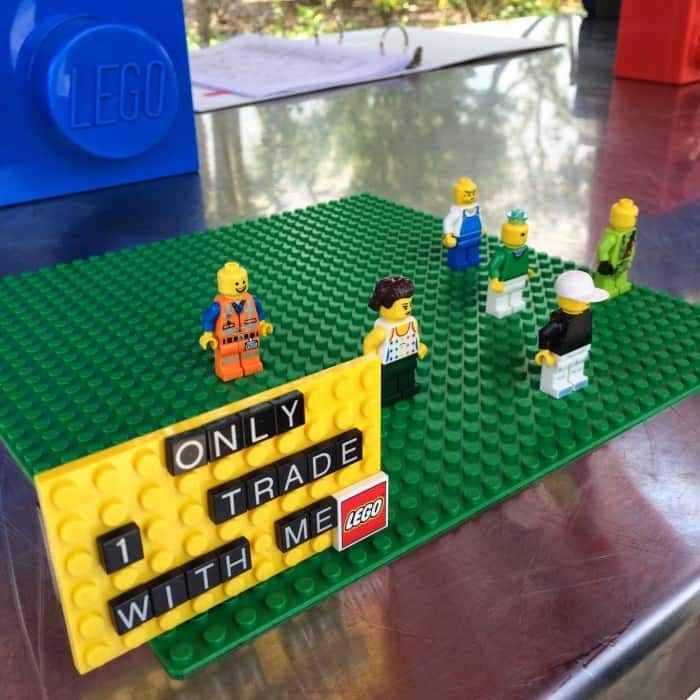 LEGO mini fig trading at LEGOLAND Florida