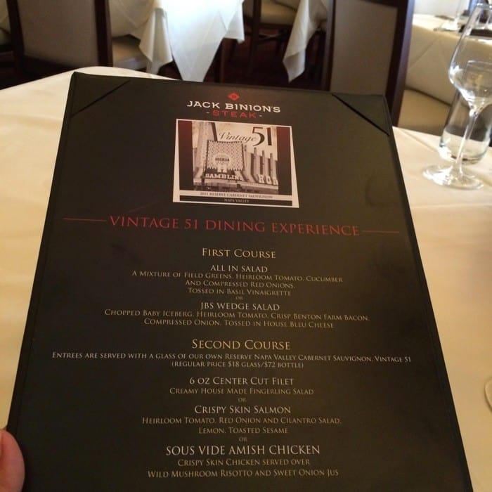Vintage 51 Dining Experience at Jack Binion's Steak