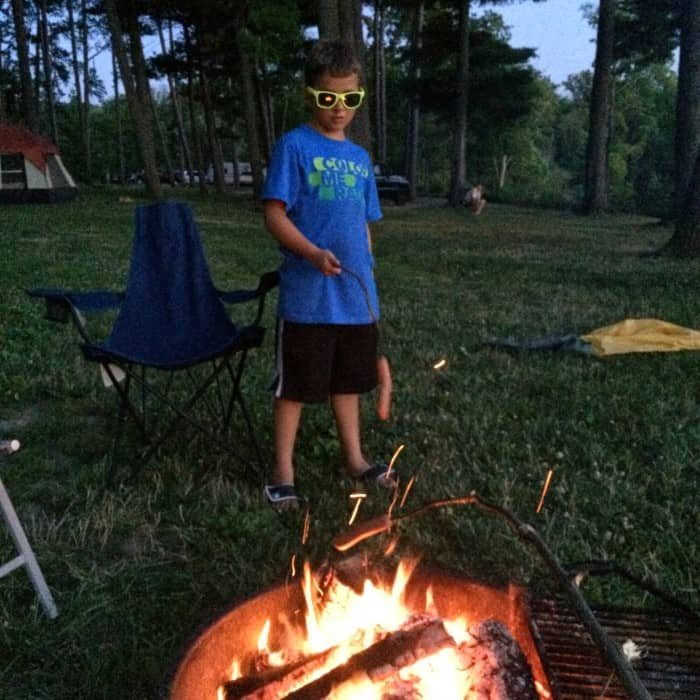 campfire at Winton Woods campground