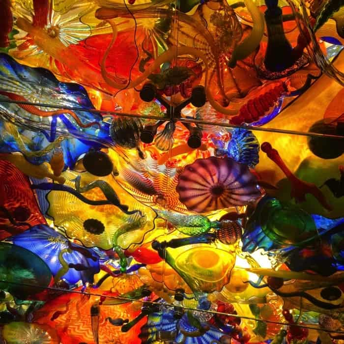 "Lower level Dale Chihuly ""Fireworks of Glass"" at The Children's Museum of Indianapolis"