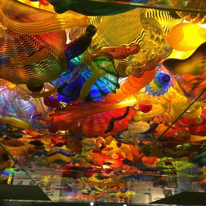 "Underneath the Dale Chihuly ""Fireworks of Glass"" display at The Children's Museum of Indianapolis"