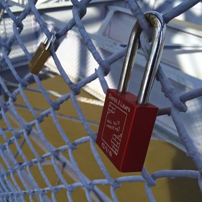 Purple people bridge locks