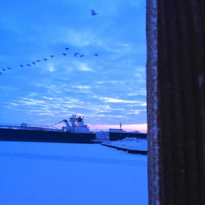 Sunrise Views of Freighters Frozen in Lake Erie10