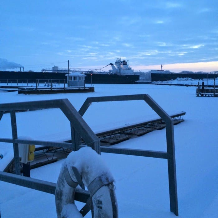 Sunrise Views of Freighters Frozen in Lake Erie11