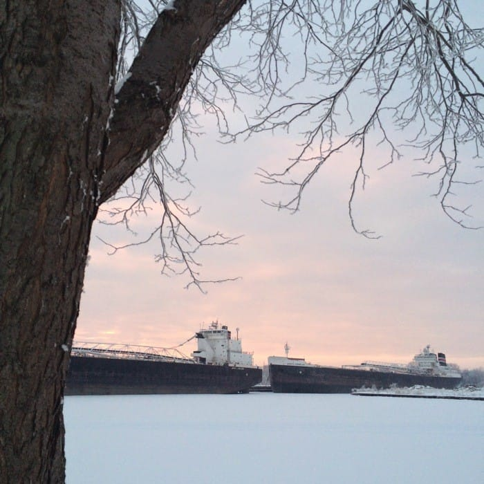 Sunrise Views of Freighters Frozen in Lake Erie14