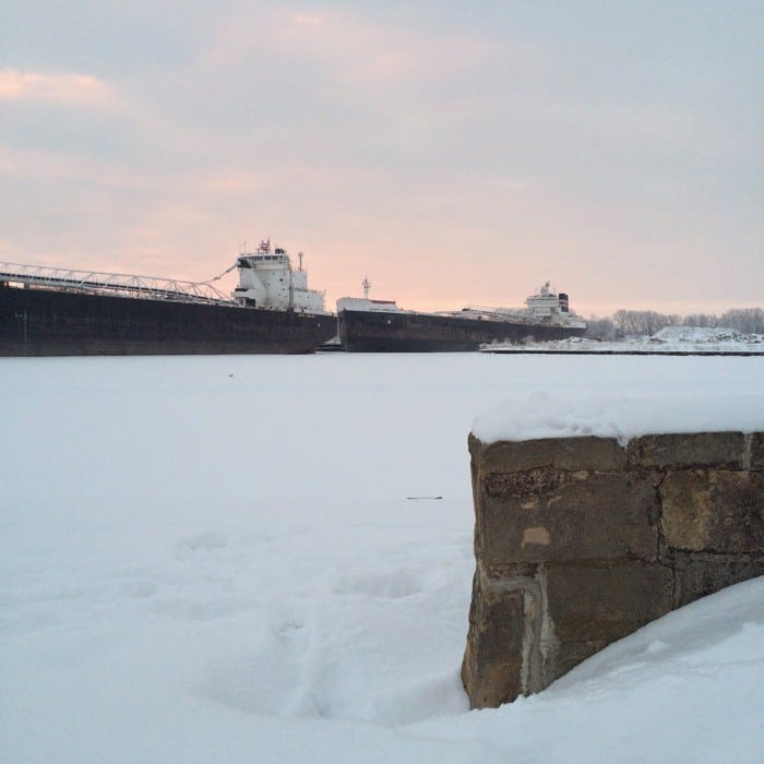 Sunrise Views of Freighters Frozen in Lake Erie16