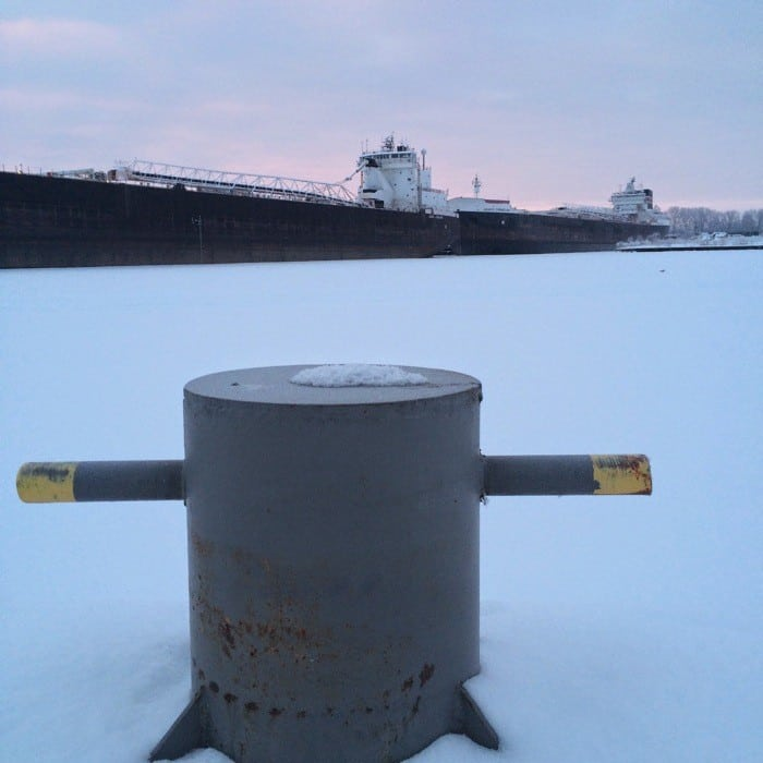 Sunrise Views of Freighters Frozen in Lake Erie17