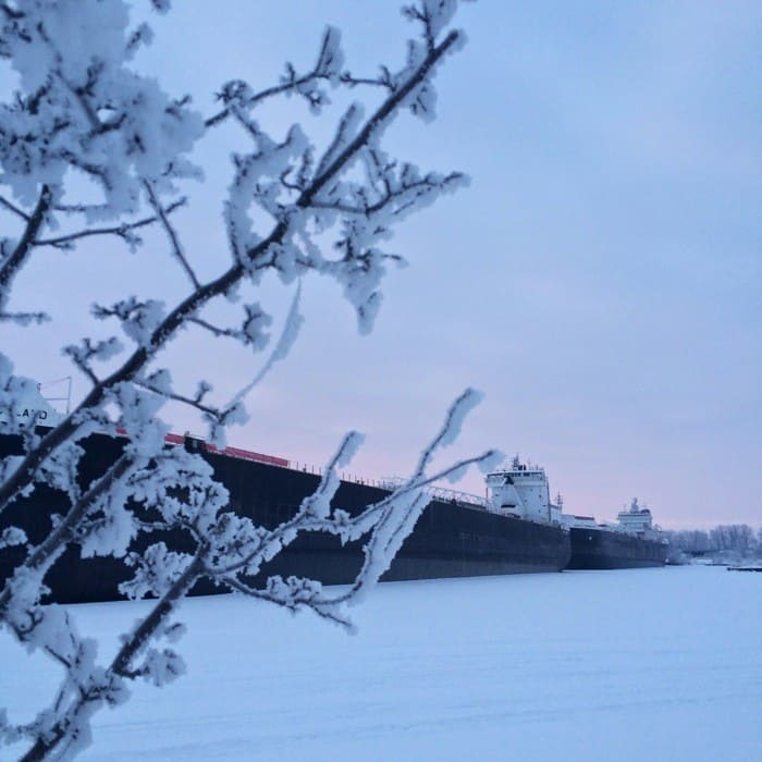 Sunrise Views of Freighters Frozen in Lake Erie19
