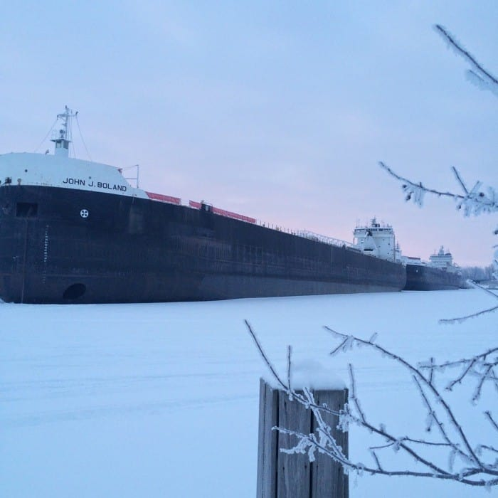 Sunrise Views of Freighters Frozen in Lake Erie20