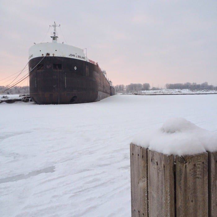 Sunrise Views of Freighters Frozen in Lake Erie21