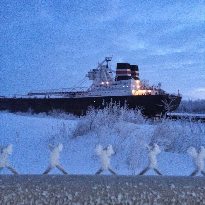 Sunrise Views of Freighters Frozen in Lake Erie4