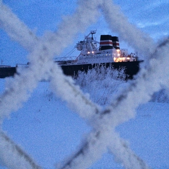 Sunrise Views of Freighters Frozen in Lake Erie5
