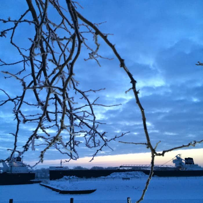 Sunrise Views of Freighters Frozen in Lake Erie9