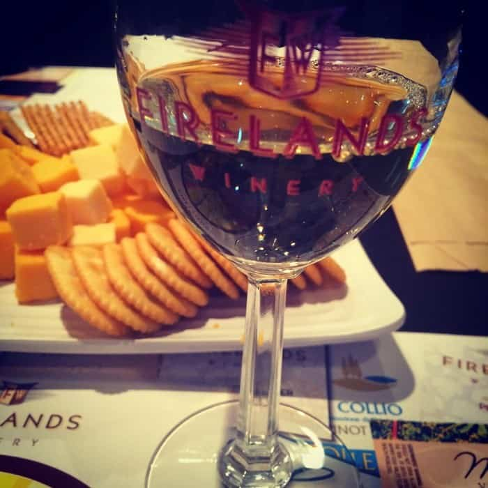 cheese and wine at Firelands Winery