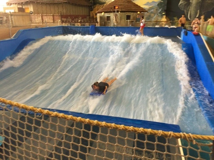 Surf simulator at Kalahari Resort in Sandusky, OH