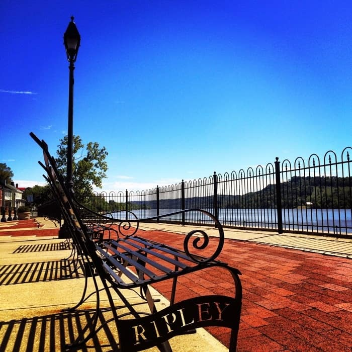 bench by the Ohio River in Ripley, Ohio