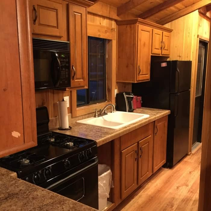 KOA Hocking Hills cabin kitchen