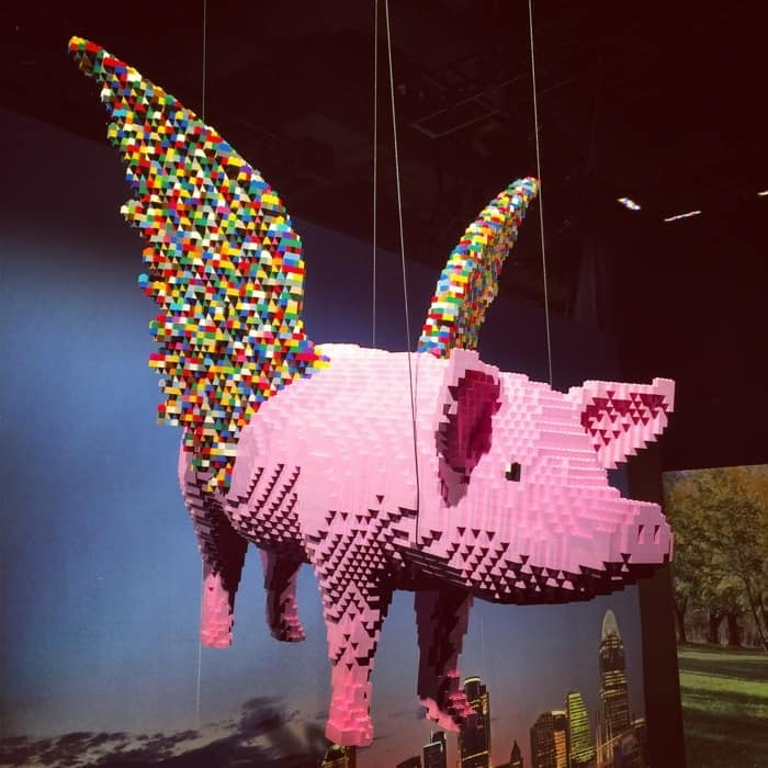 Flying pig by Nathan Sawaya The Art of the Brick Exhibit