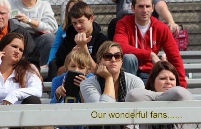fans on a bleacher