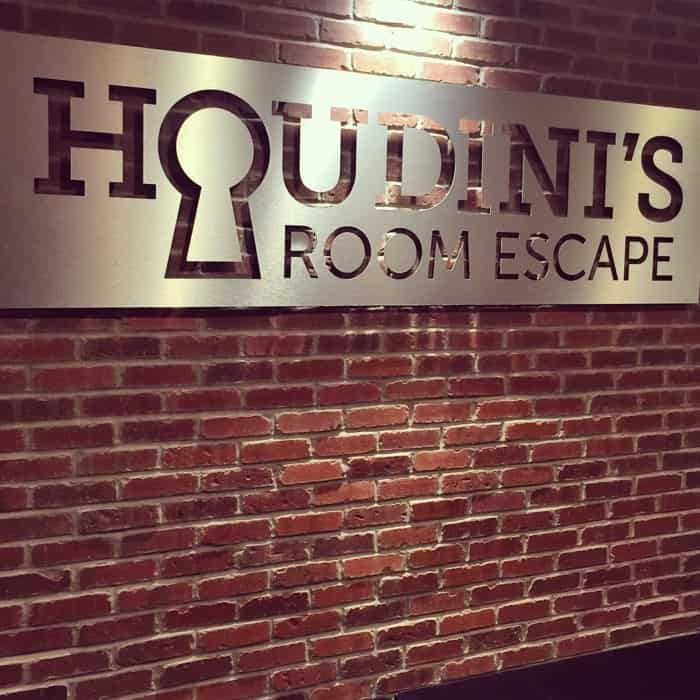 Houdini's Room Escape sign inside