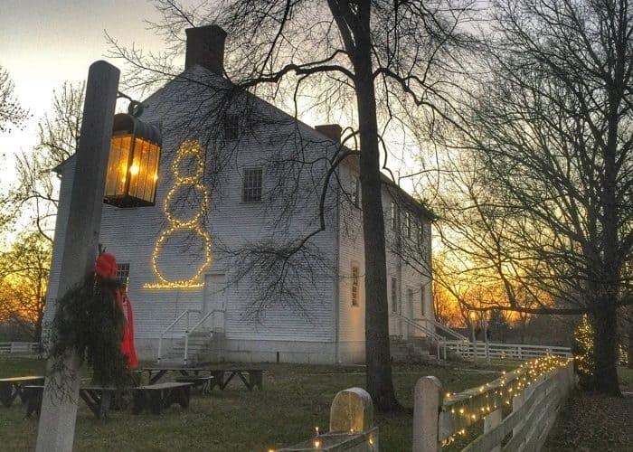 sunset at Shaker Village in Kentucky