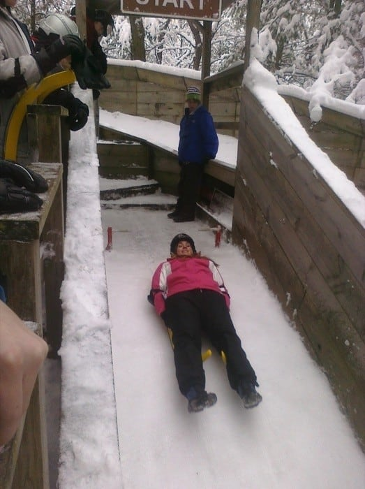 adventure mom on the luge