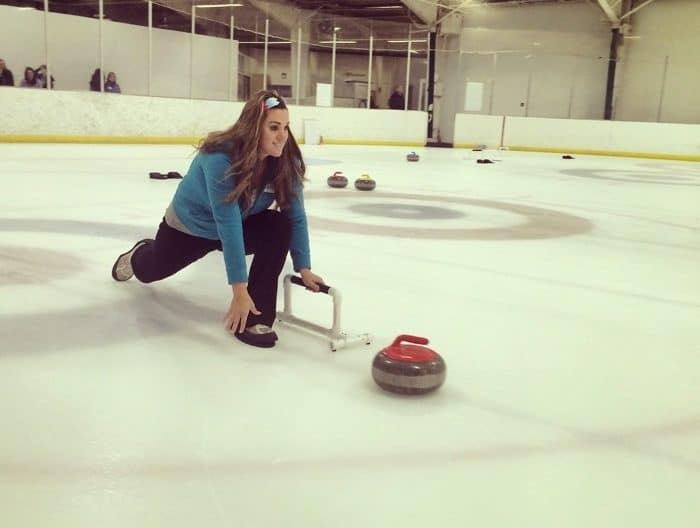 lunging during an intro to curling session with Cincinnati Curling Club