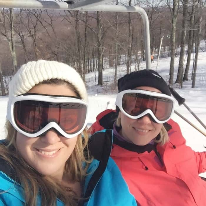 friends on chair lift at Jack Frost Resort