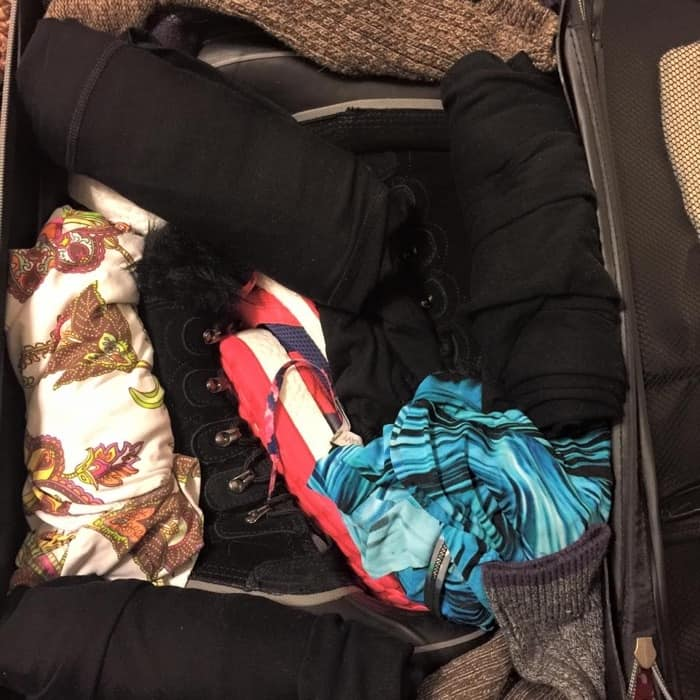 carry on suitcase full of clothes