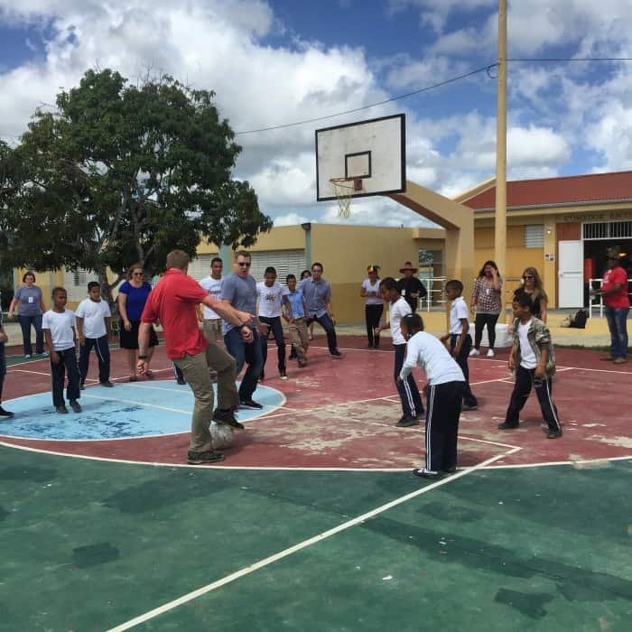 playing at a Domincan school