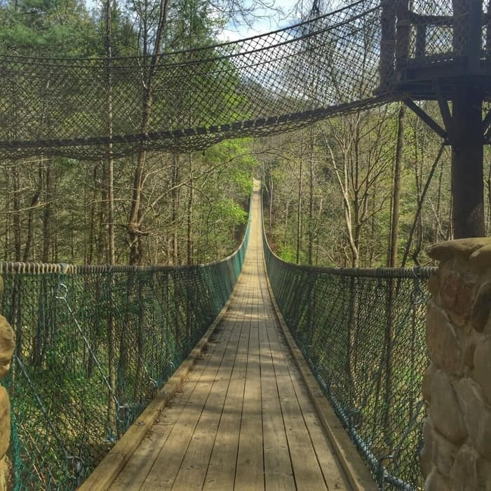 Foxfire Mountain Adventure Park swinging bridge