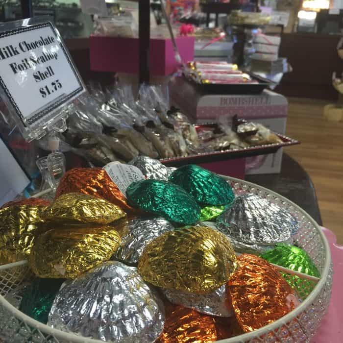 Chocolate souvenirs for sale at Angell & Phelps Chocolate Factory in Daytona Beach, FL